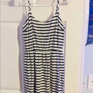 Dark blue mini striped dress